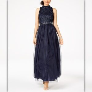 Jessica Howard Sequined Lace & Tulle Gown